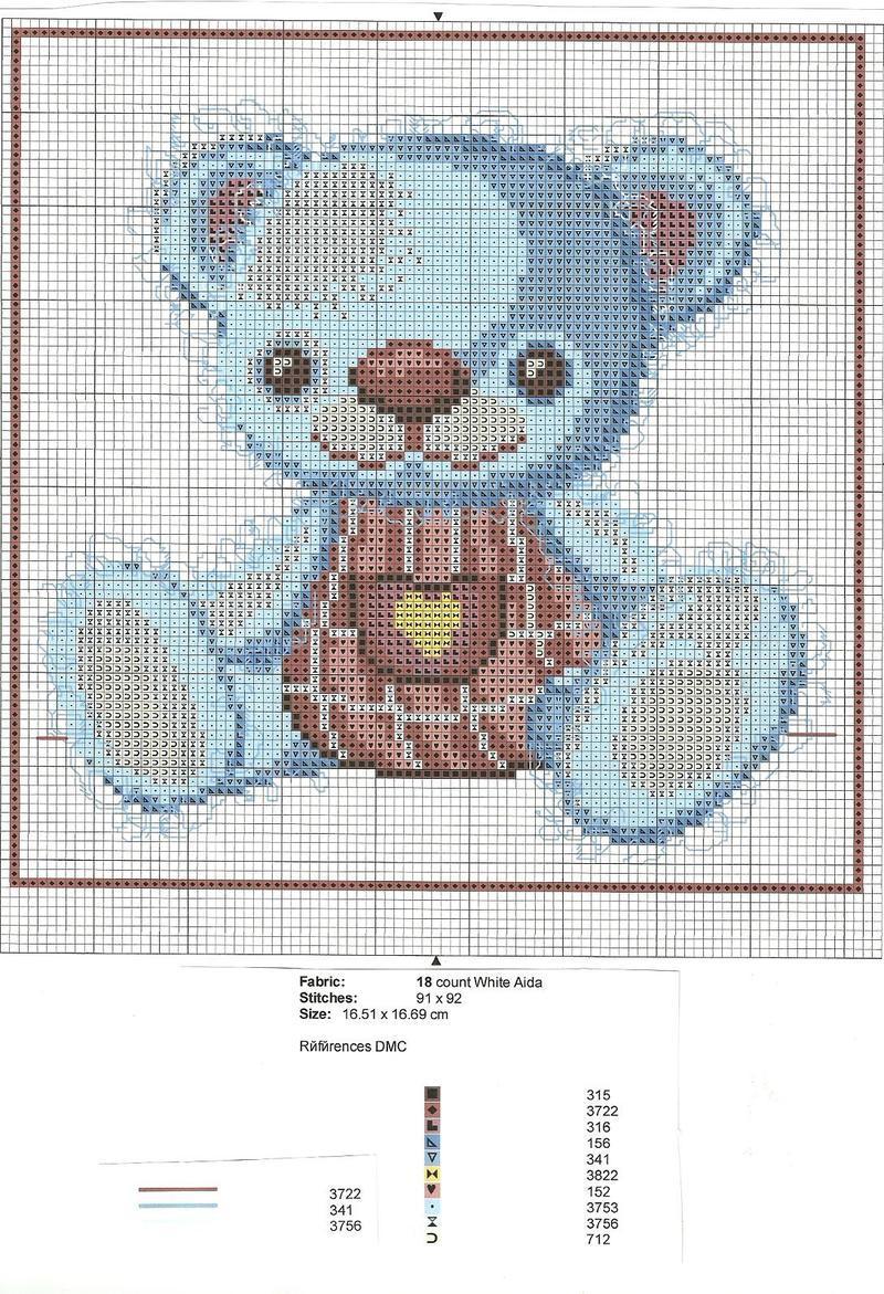 Les fans d 39 arctophilie ours teddy bears oursons - Point de croix grille gratuite naissance ...